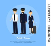 cartoon aviation crew members... | Shutterstock .eps vector #1261836994