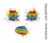 set of creative human brains in ... | Shutterstock .eps vector #1261845961