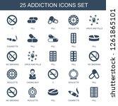 25 addiction icons. trendy... | Shutterstock .eps vector #1261865101