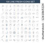 100 fresh icons. trendy fresh... | Shutterstock .eps vector #1261865224