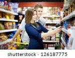young couple shopping at...   Shutterstock . vector #126187775
