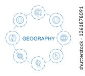 8 geography icons. trendy... | Shutterstock .eps vector #1261878091