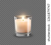 candle with glass jar isolated... | Shutterstock .eps vector #1261879747