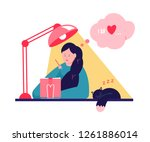 cute girl writing in journal or ... | Shutterstock .eps vector #1261886014