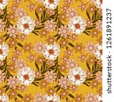 seamless pattern with flowers ...   Shutterstock .eps vector #1261891237