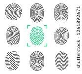collection of fingerprints ... | Shutterstock . vector #1261892671