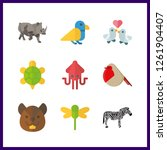 9 wildlife icon. vector... | Shutterstock .eps vector #1261904407