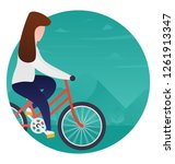 girl doing cycling flat... | Shutterstock .eps vector #1261913347