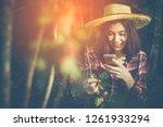 among the warm morning sunshine ... | Shutterstock . vector #1261933294