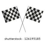 crossed chequered flag isolated ... | Shutterstock . vector #126195185