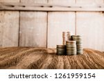 wood home model on table with... | Shutterstock . vector #1261959154