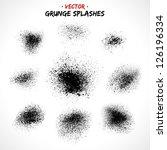 set of grunge splashes. grunge... | Shutterstock .eps vector #126196334