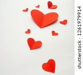 red paper hearts isolated on... | Shutterstock . vector #1261979914