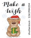 make a wish. festive card with... | Shutterstock .eps vector #1261984204