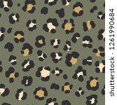animal leopard seamless hand... | Shutterstock . vector #1261990684