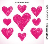 Set Of Grunge Vector Hearts....