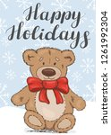 happy holidays. festive card... | Shutterstock .eps vector #1261992304