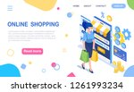 online shopping. woman and...   Shutterstock .eps vector #1261993234
