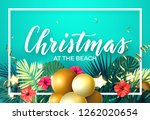 tropical christmas on the beach ... | Shutterstock .eps vector #1262020654