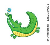 hand drawn cute crocodile with... | Shutterstock .eps vector #1262039071
