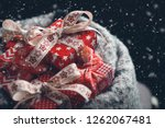 red christmas gift boxes with... | Shutterstock . vector #1262067481