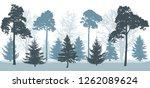 snowy forest in winter ... | Shutterstock .eps vector #1262089624