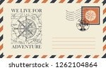 postal envelope with postage... | Shutterstock .eps vector #1262104864