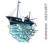 fishing boat and flock fish in... | Shutterstock .eps vector #1262112877