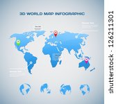 3d World Map Infographic With...