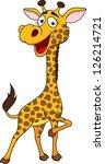 cute giraffe cartoon | Shutterstock .eps vector #126214721