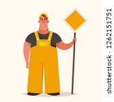 cute chubby builder holding... | Shutterstock .eps vector #1262151751
