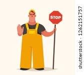 cute chubby builder holding... | Shutterstock .eps vector #1262151757