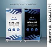 modern roll up banner. blue... | Shutterstock .eps vector #1262153974