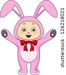 cute baby in rabbit costume | Shutterstock .eps vector #126218021