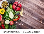fresh and healthy food. avocabo ... | Shutterstock . vector #1262195884
