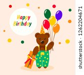 teddy bear with balloons and... | Shutterstock .eps vector #1262204671