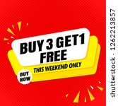 buy 3 get 1 free sale banner... | Shutterstock .eps vector #1262213857