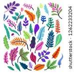vector set of tropical leaves... | Shutterstock .eps vector #1262233204
