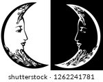 crescent moon with profile... | Shutterstock .eps vector #1262241781