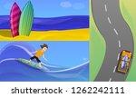 surfing banner set. cartoon... | Shutterstock .eps vector #1262242111