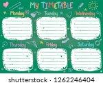 school timetable template on... | Shutterstock .eps vector #1262246404