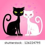 Stock vector black male and white female cat fallen in love isolated on pink background 126224795