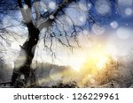 winter sunset landscape with... | Shutterstock . vector #126229961