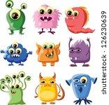 cartoon cute monsters   Shutterstock .eps vector #126230639