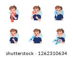 cute boy have asthma and flu... | Shutterstock .eps vector #1262310634
