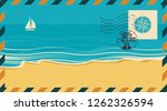postal envelope with postage... | Shutterstock .eps vector #1262326594