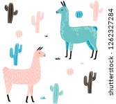 llama seamless pattern with... | Shutterstock .eps vector #1262327284