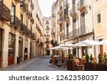 street view with cafes in the... | Shutterstock . vector #1262358037