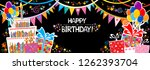 happy birthday banner. greeting ... | Shutterstock .eps vector #1262393704