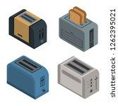 toaster icon set. isometric set ... | Shutterstock .eps vector #1262395021